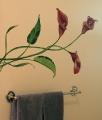 calla lily mural in bathroom