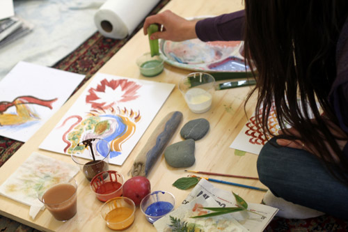 Make vegetable prints with Earth Paint
